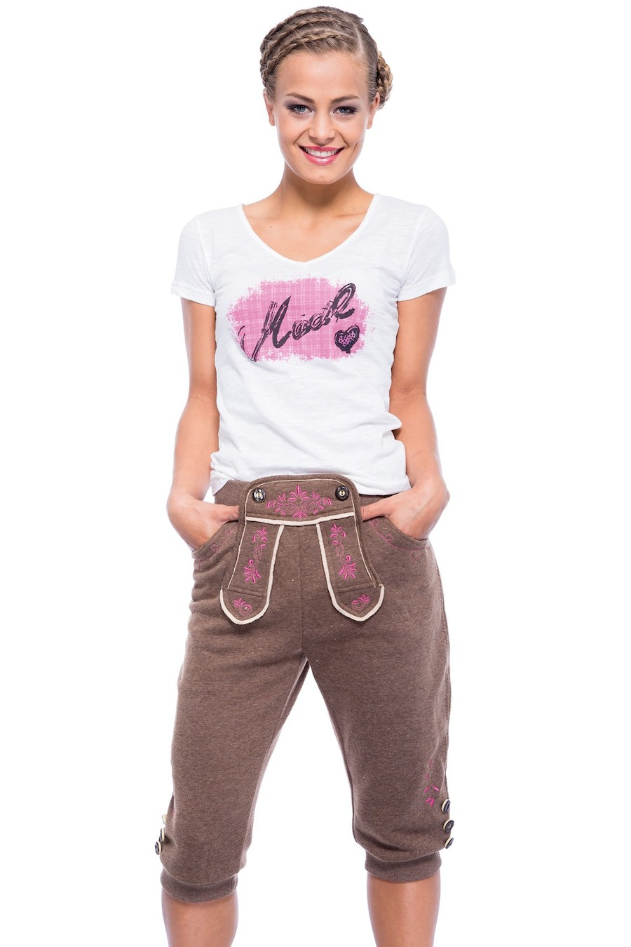 Damen Joggers in Lederhosen Optik