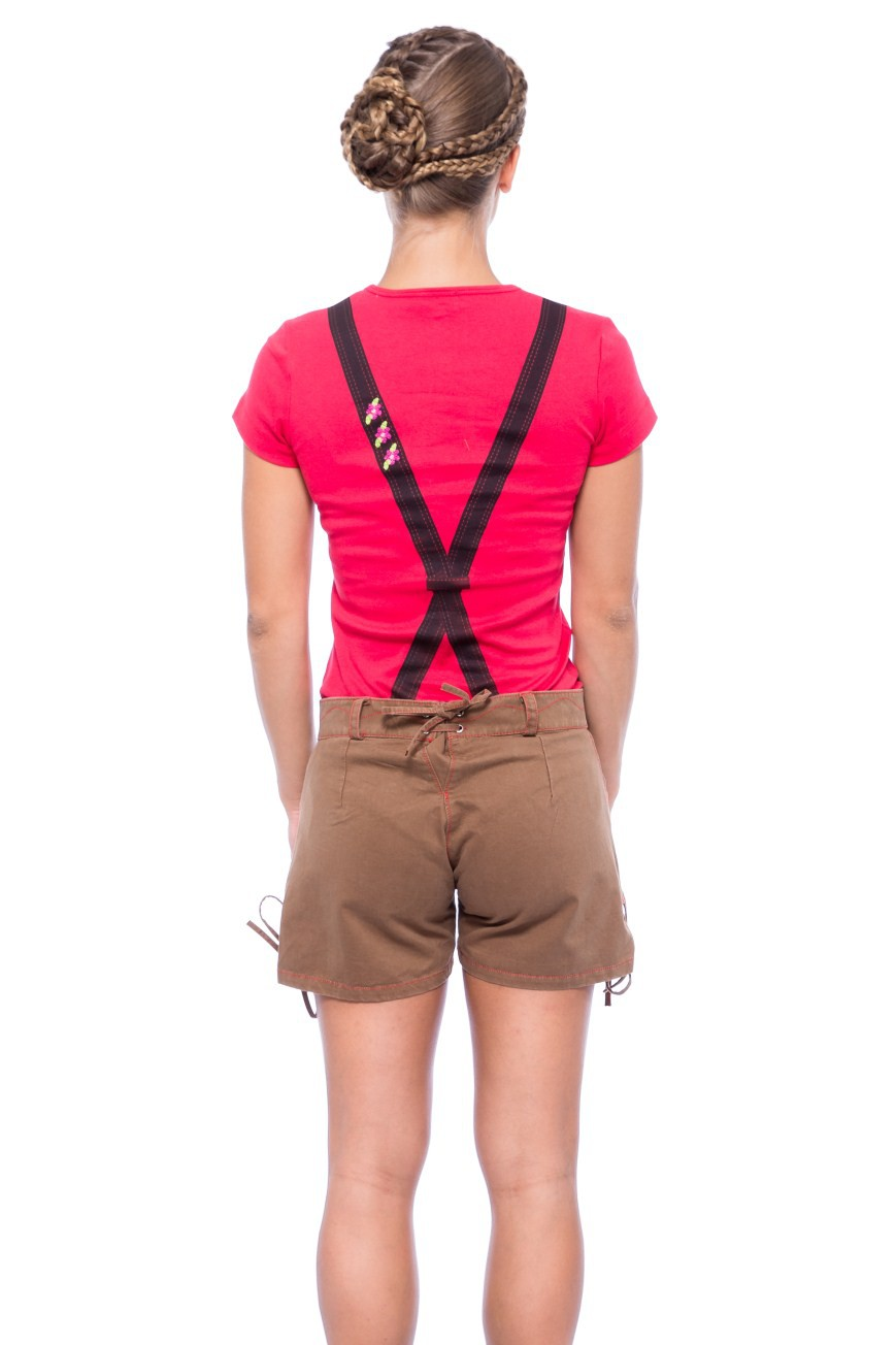 Damen Short im Lederhosen Look